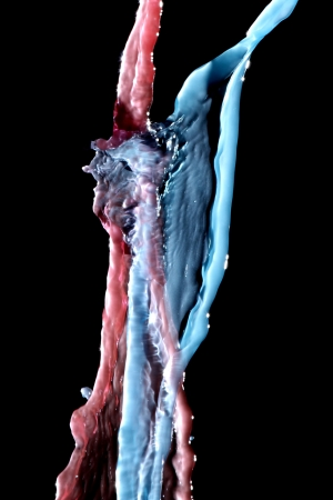 transcendent: Red and blue water forming man and woman