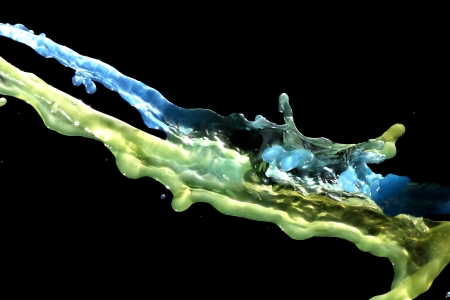 transcendent: Green and blue water streams in the air