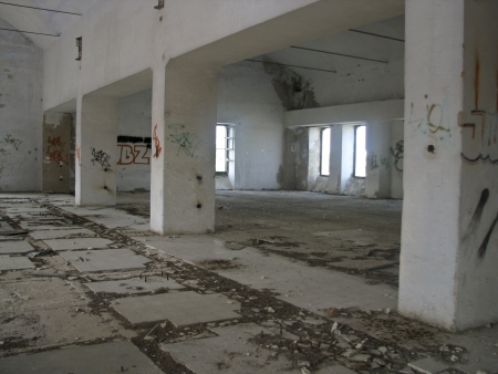 cast in place: Old deserted building interior