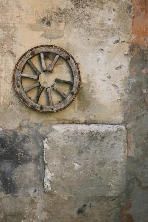 spoked: Old wagon wheel Stock Photo