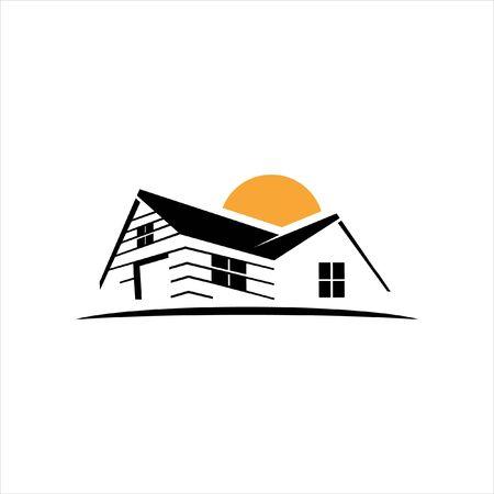 simple flat black illustration of yellow sunset house logo design idea