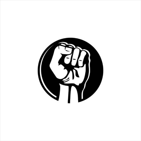 black round illustration of revolution hand icon logo design idea Stok Fotoğraf - 133235945