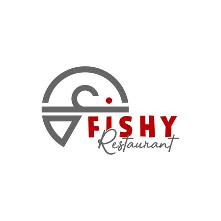 simple modern line art of fish for seafood restaurant logo design or icon template Vectores