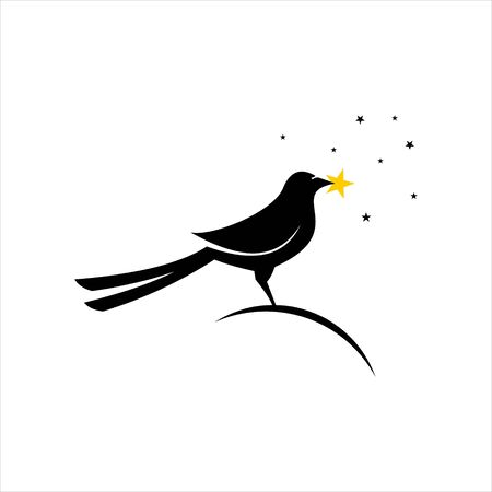 standing magpie bird picking stars vector. animal logo design template. bird icon or clip art inspiration