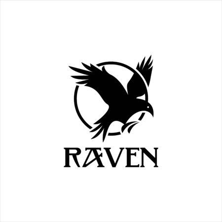 flying raven bird in circle vector. animal logo template. black bird icon design inspiration Illustration