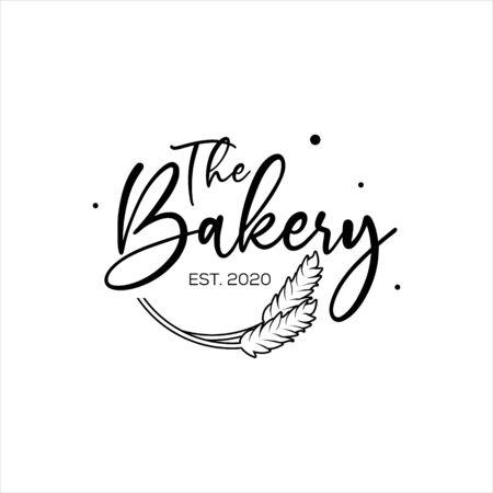 Modèle de conception de logo de boulangerie avec texte de script de calligraphie pour la nourriture et les boissons ou la pâtisserie. Logo