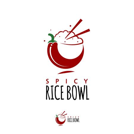 healthy food modern logo design template. rice bowl icon with chopstick and chili vector for gourmet industry
