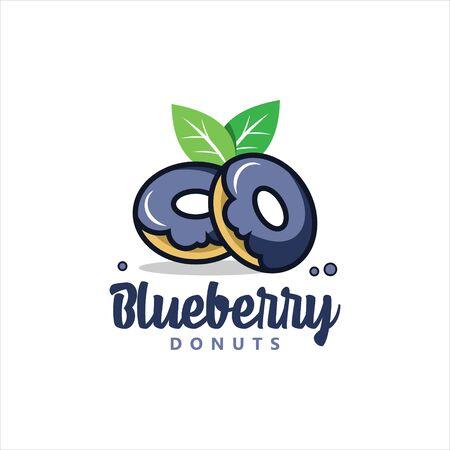 modern cartoon blueberry flavor doughnut vector. best for cafe and bakery logo design template or food clip art