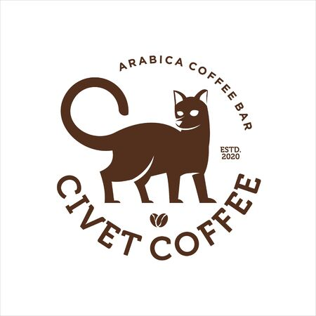 circle label with civet cat vector inside best for premium coffee bar or shop design template