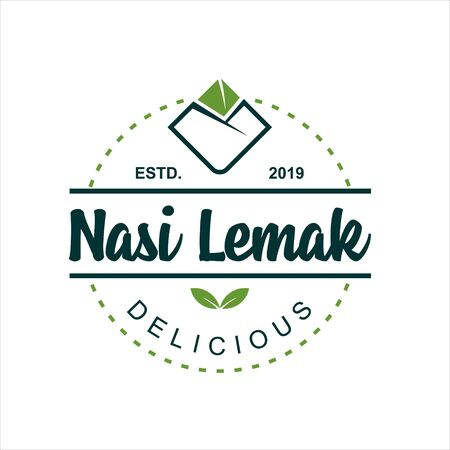Nasi Lemak mean cooked rice  vector, traditional food icon template idea