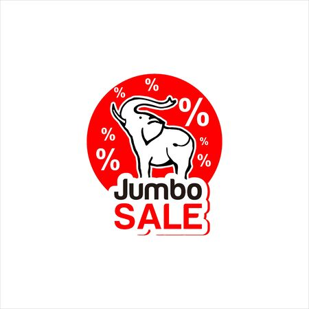 modern label red discount jumbo sale with elephant vector icon for big sale logo graphic design template idea Иллюстрация