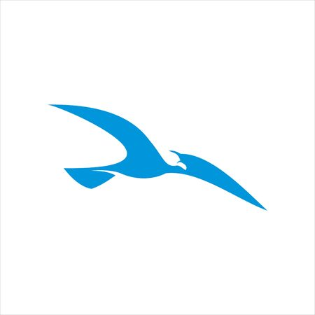 simple flat blue flying seagull bird for maritime and nautical logo design inspiration