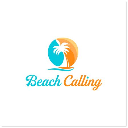 colorful sunset beach with palm tree and sail boat illustration for nature or recreation logo template