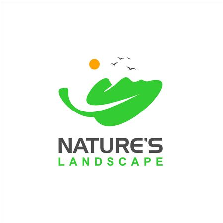 fun illustration with leaf and green vector landscape for aerial or nature logo design inspiration