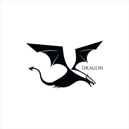 simple flying dragon vector legend animal illustration   design template idea Illustration
