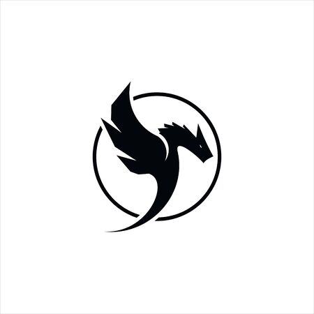 simple round black frame dragon vector best for ancient animal template and icon design idea