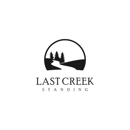 simple nature logo black color vintage. creek with pine tree and river vector for landscape graphic design template