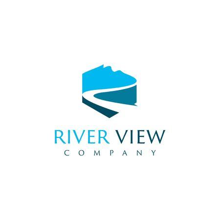 einfacher blauer moderner Fluss mit Berg im Sechseckformvektor für Logografikdesignschablonenidee