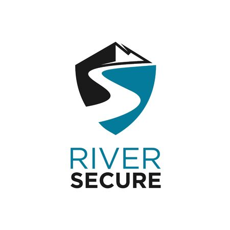 simple and modern river with mountain in shield shape vector for logo graphic design template idea Illustration