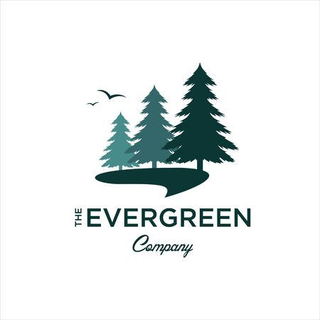 modern illustration green Pine trees vector for landscape and nature graphic Logo design or print art template