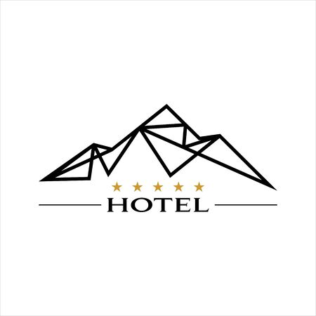 modern black line art mountain hotel vector tourism and travel  graphic design template idea Banque d'images - 145547761
