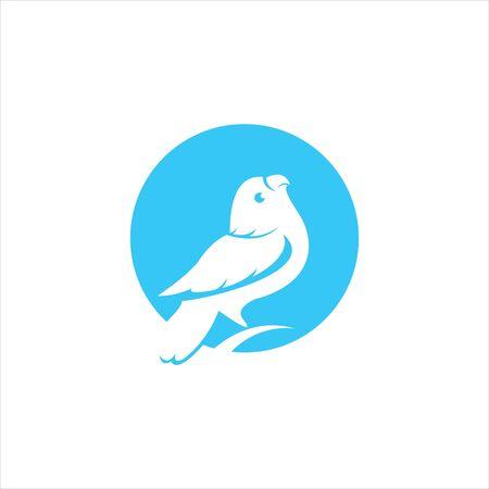 simple modern circle blue parakeet bird vector for animal logo design or bird lover icon idea
