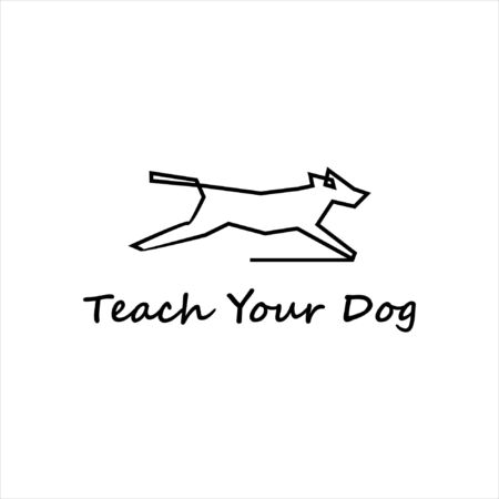 simple modern black line dog training illustration animal graphic design template idea Vecteurs