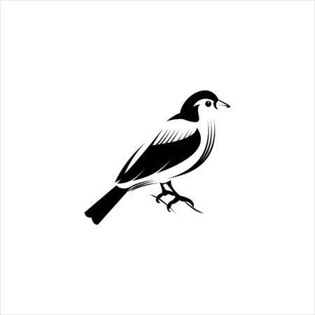 artistic finch bird in flat black color vector illustration for clip art, animal logo design template or icon idea