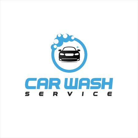modern simple fresh blue car vector in circle bubble frame for automotive cleaning service logo design template