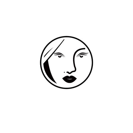 simple women face modern line circle best for abstract icon or beauty logo template design idea