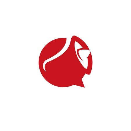 simple modern abstract red horn logo of loud speak for event or hiring icon design inspiration