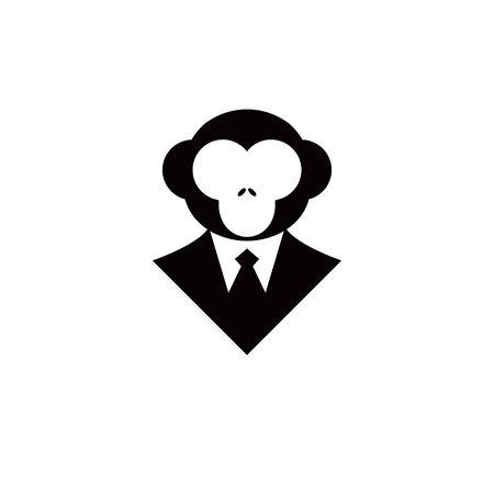 business monkey logo wearing tuxedo playful mascot. simple flat black illustration design inspiration