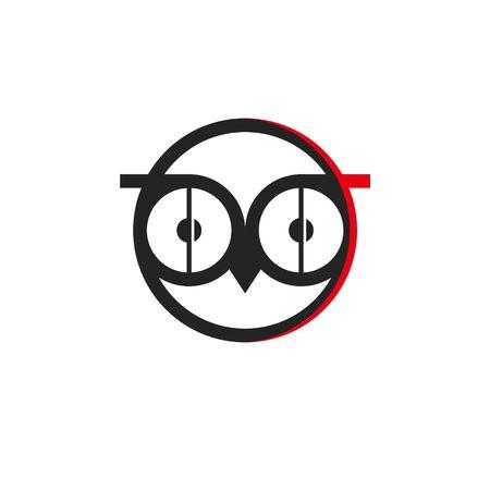 funny face owl logo as sleep insomnia icon. simple modern round black illustration design inspiration