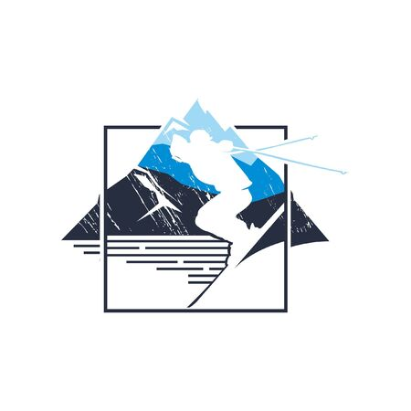 modern rustic winter skiing square badge illustration for sport activities sticker t-shirt design
