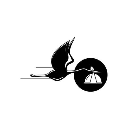 playful flying black stork logo carrying meal illustration for food delivery service. business design template Zdjęcie Seryjne - 147560207