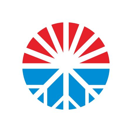 heating and cooling logo design idea simple circle icon red blue illustration