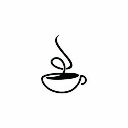 simple coffee cup logo flat black color illustration, icon and design template Logo