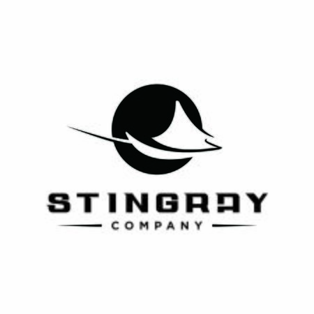 simple modern black circle stingray logo for sea animal vector or fish icon design idea
