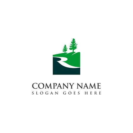 simple green creek and river logo modern square pine nature hill vector design template
