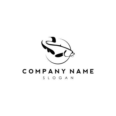 simple modern black snake head fish logo icon design Illustration
