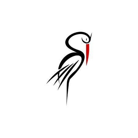 simple modern illustration of standing sleep stork logo. animal vector design template