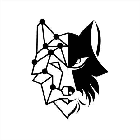 wolf head logo half bold and line vector animal illustration design art template inspiration