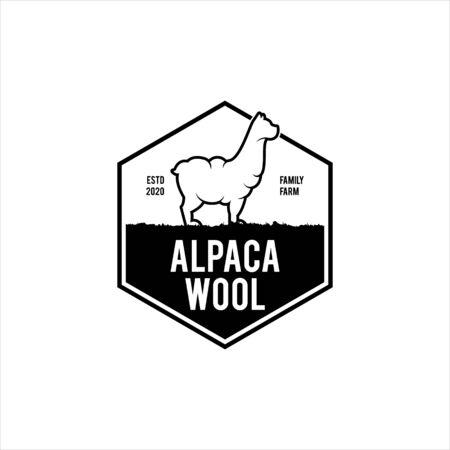 simple badge emblem wool logo industry alpaca vector stamp design template inspiration Banque d'images - 150059550