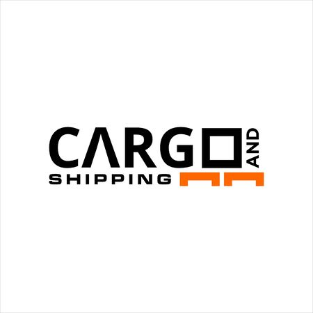 simple text and modern typography for cargo and shipping industry sticker, logo, icon, vector design template idea Stock Illustratie