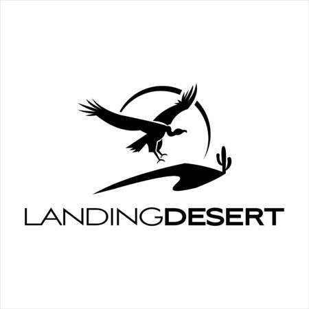 simple flying vulture desert logo graphic design vector for tourism or traveling template Vettoriali