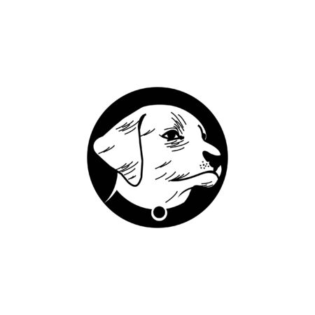 dog head  rustic black circle frame icon animal lover or pets care design template Vettoriali