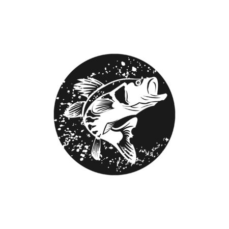 Largemouth bass fish  black circle rustic grunge illustration for fishing sport icon or recreation design idea