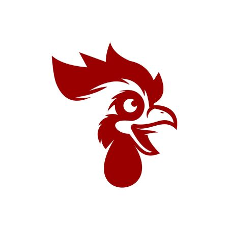 rooster head  modern fun red cartoon illustration for icon or farm design template idea