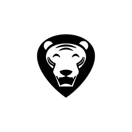 lion head  simple animal point shape mane in black color fun icon or design template