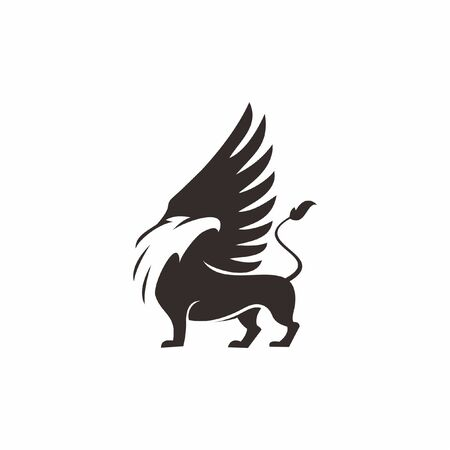 Griffin logo the mythology creatures mascot vector for design or print art template
